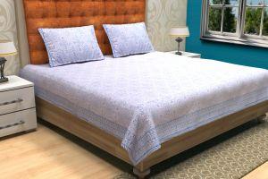 Geometrical Block Printed Bed Sheet - SHJ-HBP-BCVR-015