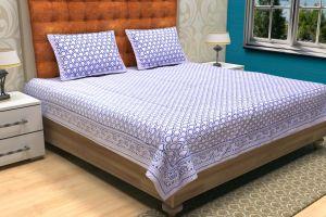 Geometrical Hand Block Printed Bed Sheet - SHJ-HBP-BCVR-002