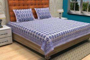Geometrical Hand Block Printed Bed Sheet - SHJ-HBP-BCVR-016
