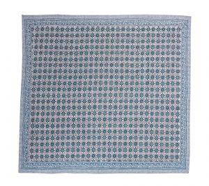 Sky Blue Geometrical Block Printed Kantha Quilt - SHJ-HBP-KQ-023