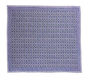 Indigo Blue Geometrical Block Printed Kantha Quilt - SHJ-HBP-KQ-025