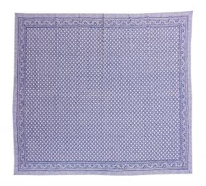 Indigo Blue Geometrical Block Printed Kantha Quilt - SHJ-HBP-KQ-035