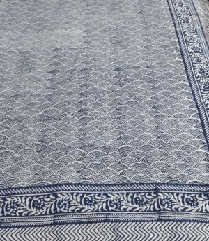 Indigo Hand Block Printed Kantha Quilt - SHJ-HBKQ-001