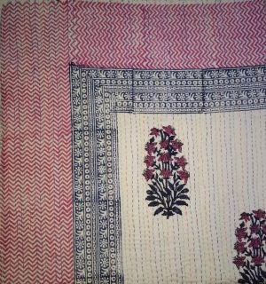 Mughal Floral Block Printed Kantha Cotton Quilt - SHJ-HBKQ-004