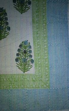 Mughal Floral Block Printed Kantha Cotton Quilt - SHJ-HBKQ-006