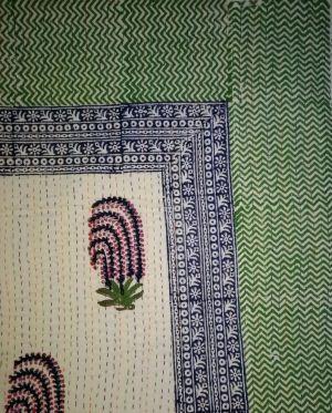 Mughal Paisley Block Printed Kantha Cotton Quilt - SHJ-HBKQ-005