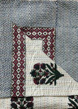 Mughal Floral Block Printed Kantha Cotton Quilt - SHJ-HBKQ-003