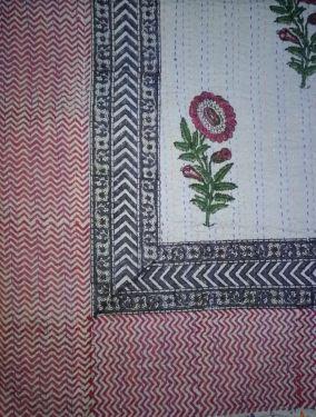 Mughal Floral Block Printed Kantha Cotton Quilt - SHJ-HBKQ-002