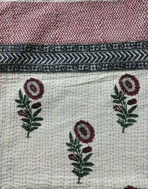 Mughal Floral Block Printed Kantha Cotton Quilt - SHJ-HBKQ-007