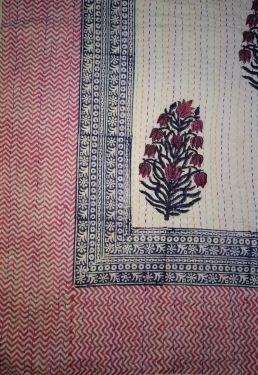 Mughal Floral Block Printed Kantha Cotton Quilt - SHJ-HBKQ-008