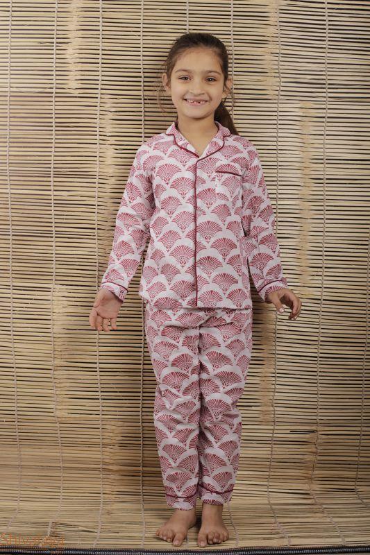Hand Block Printed Girls Cotton Nightsuit - SH-HBPNS-G-89