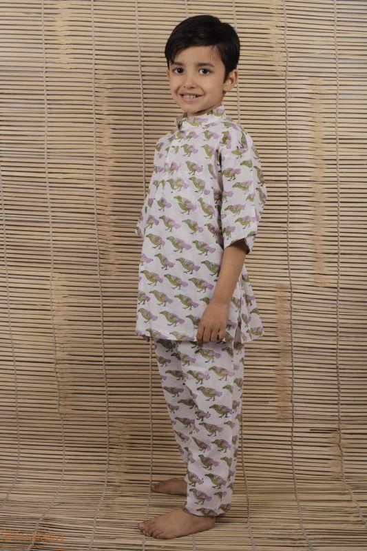Hand Block Printed Boys Cotton Night Suit - SH-HBPNS-B-57