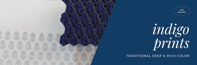 indigo block printed cotton fabric